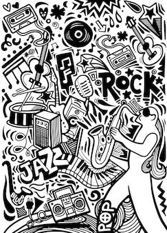 手描きのdoodles音楽ポスターテンプレート
