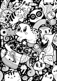 だらだらかわいい漫画のキャラクター。手描きの白と黒のスケッチの着色。