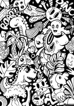 Doodling cute kawaii cartoon characters dinosaurs. black and white coloring book page, hand drawn background.