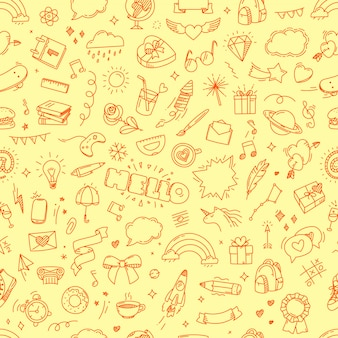 Doodling seamless childish pattern