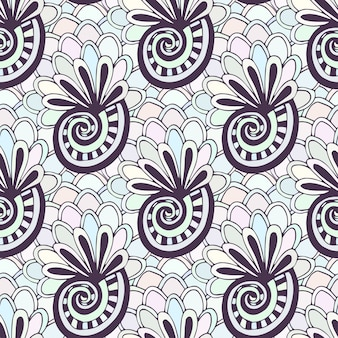 Doodling seamless pattern with seashells. zentangle coloring page. creative background for textile or coloring book in pastel colors.