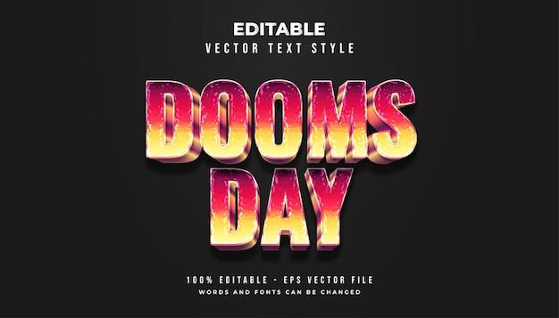 다채로운 그라디언트와 초라하고 더러운 텍스처가있는 dooms day 텍스트 스타일