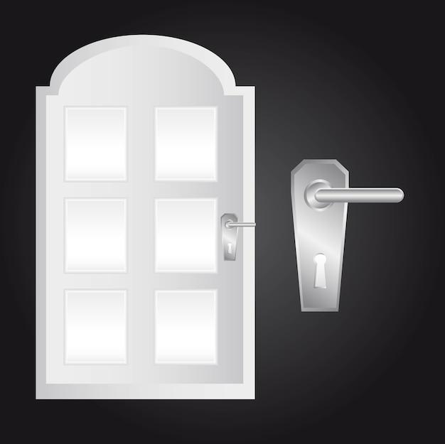 Door and door lock over black background