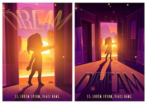 Poster di cartoni animati da porta a sogno con bambino sulla porta