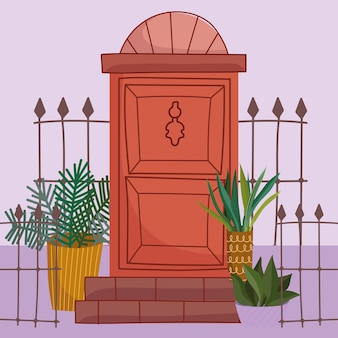 문 울타리와 식물