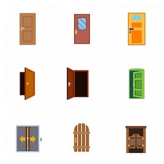 Door flat icons.