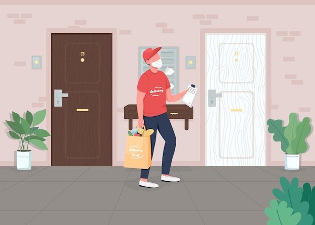 Дверь с доставкой еды, плоская цветная иллюстрация. блокировка отгрузки товаров. экспресс-доставка товаров. перевозчик на вынос. мультяшный персонаж курьера с дверьми квартиры.