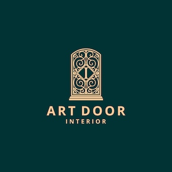 Door furniture with abstract pattern art vintage logo