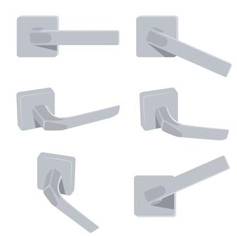 Door handle vector set isolated