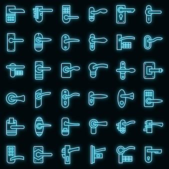 Набор иконок дверных ручек вектор неон