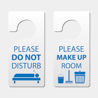 Door hanger tags, do not disturb and make up room sign