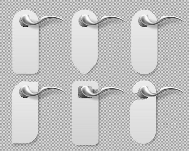 Дверные вешалки на металлических ручках знаков макет набора.