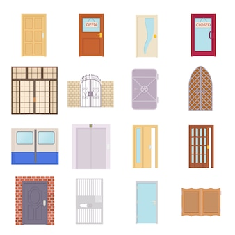 Door icons set in cartoon style vector