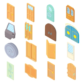 Door icons set in isometric 3d style