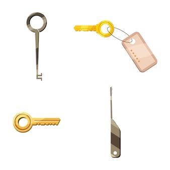 Door key elements set. cartoon set of door key