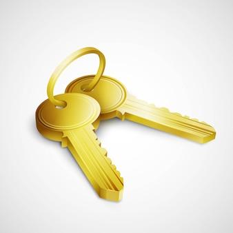 白い背景で隔離のドアの鍵