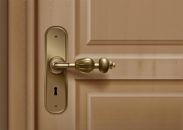 문 손잡이는 화려한 손잡이와 열쇠 구멍이있는 문의 근접 촬영보기로 현실적인 구성을 처리합니다.