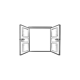Открытие двери рисованной наброски каракули значок. открытая дверь вектор эскиз иллюстрации для печати, интернета, мобильных устройств и инфографики, изолированные на белом фоне.