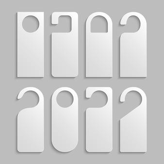 Дверной бирки вешалка вывеска отеля. бумажная этикетка макета вешалки для комнаты не мешает шаблон.