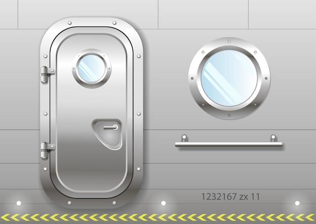 Door and window of the ship Premium Vector