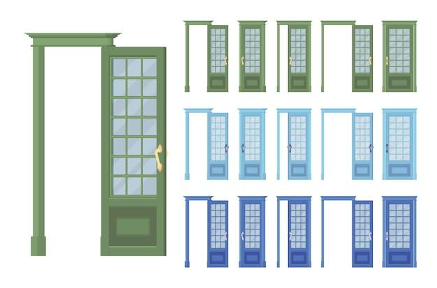 문 클래식 세트, 유리와 목재, 건물 입구, 방