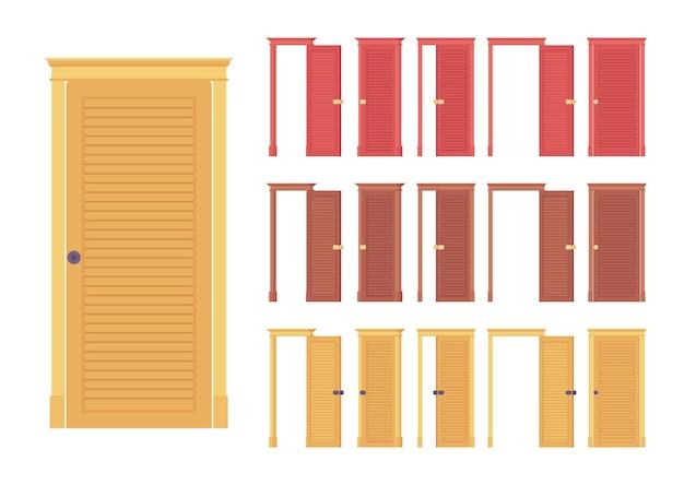 Doors flush classic set, wooden entrance to building, room