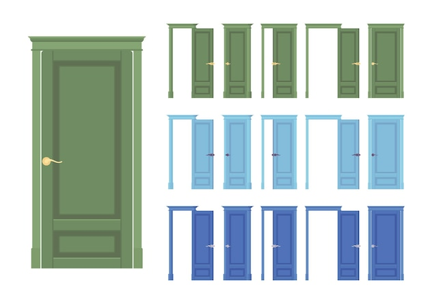 Doors flush classic set, wooden with glass, entrance to building, room