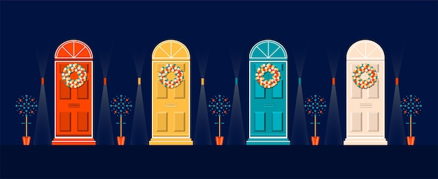 Doors of house decorated for christmas.