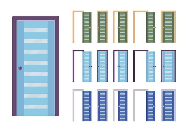 문 현대 세트, 건물 입구, 방 프리미엄 벡터