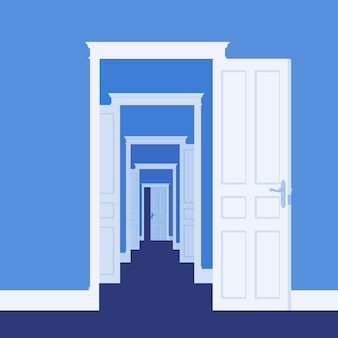 Doors open in many rooms. metaphor of business, life opportunity, new ways to success, chance and possibility to get development, path to reach goal or dream. vector illustration, faceless characters