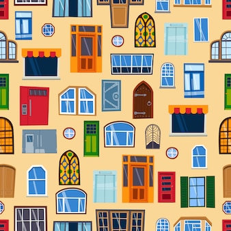Doors seamless pattern colorful closed entrance house