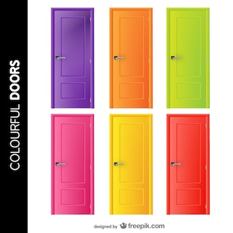 Doors set in cheerful colors