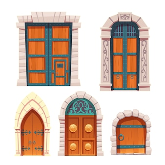 Doors set, wooden and stone medieval entries.
