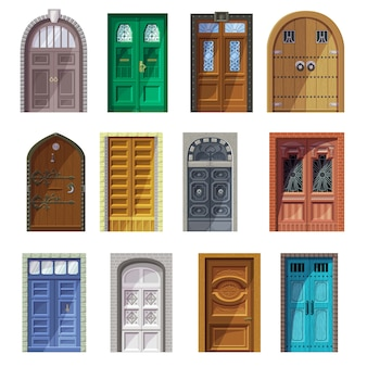 Doors vector vintage castle doorway front entrance indoor house interior illustration set of historic building antique entry doorpost doorsill and medieval gate isolated icon set