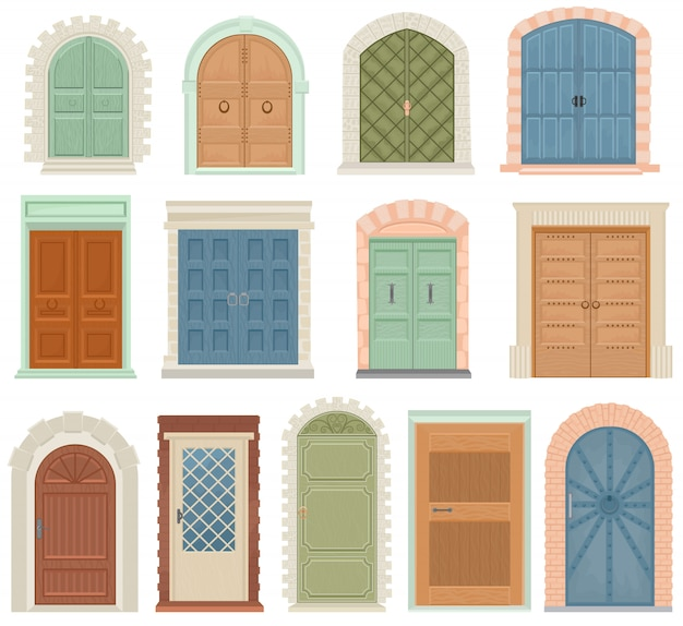 Doors vector vintage doorway front entrance lift entry or elevator indoor house interior set medieval building doorpost doorsill and gate