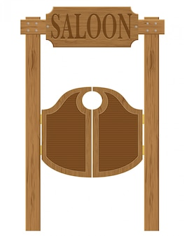 Doors in western saloon wild west vector illustration