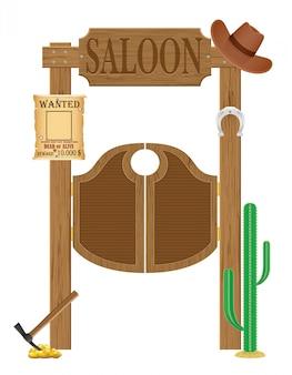 Doors in western saloon wild west vector illustration