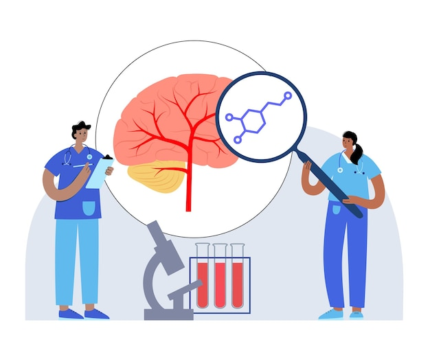 Dopamine formula icon or logo. monoamine neurotransmitter and hormone vector illustration
