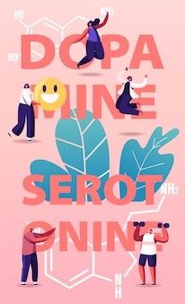 Dopamine, serotonin illustration. people enjoying life due to hormones production in organism.