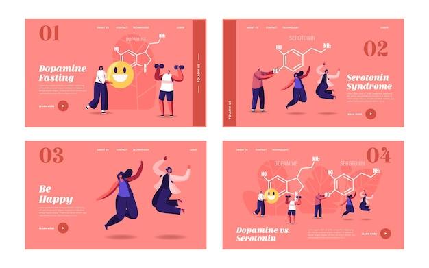 ドーパミン、セロトニンランディングページテンプレートセット。巨大なフォーミュラの近くで生活を楽しんでいる人々。生物におけるホルモン産生。キャラクターはジャンプ、運動、喜び、人間の健康。漫画のベクトル図