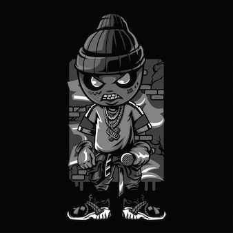 Dope style черно-белая иллюстрация