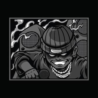Dope vibes черно-белая иллюстрация