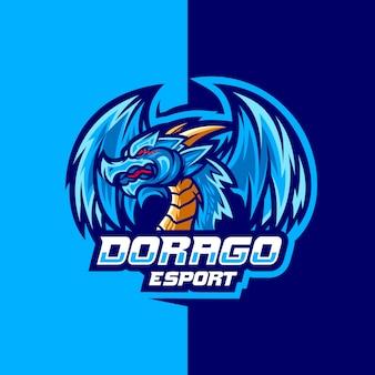 Eスポーツのロゴデザインのためのドラゴ