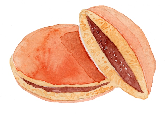 Dorayaki japanese sweets watercolor drawing illustration