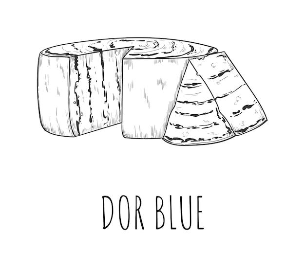 화이트에 dorblu 치즈 유제품 전채 스케치