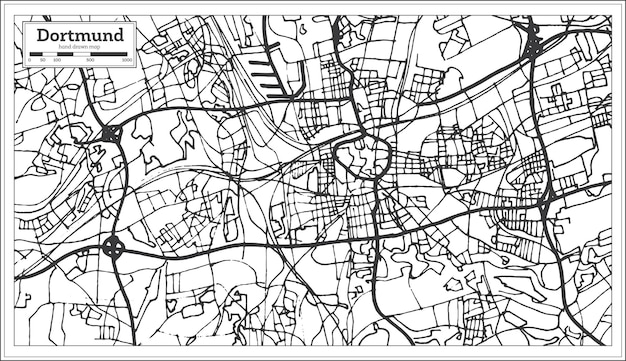 복고 스타일의 도르트문트 독일 도시 지도입니다. 개요 지도. 벡터 일러스트 레이 션.