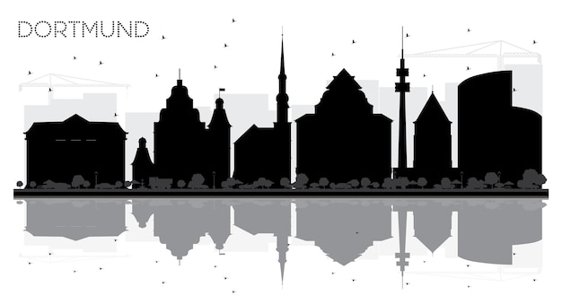 Dortmund germany city skyline black and white silhouette with reflections vector illustration