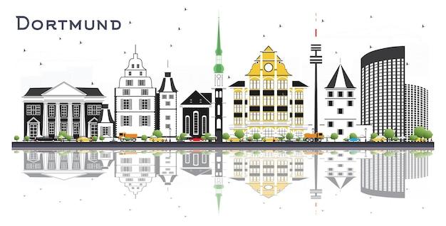 Горизонты города дортмунд германия с цветными зданиями и размышлениями, изолированными на белом