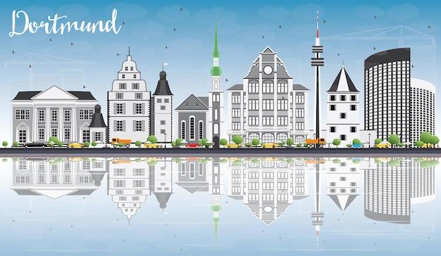 Горизонт дортмунда с серыми зданиями, голубым небом и отражениями. векторные иллюстрации. деловые поездки и концепция туризма с исторической архитектурой. изображение для презентационного баннера и веб-сайта.