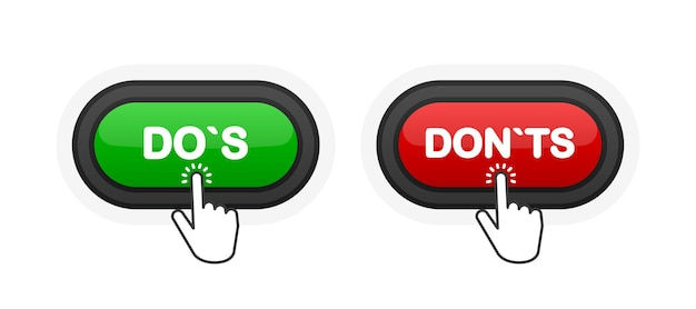 Dos or donts green or red realistic 3d button isolated on white background. hand clicked. vector illustration.